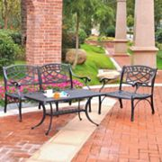 Sedona 3 pc Cast Aluminum Table & Chairs Outdoor Patio Set