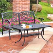 Sedona 2 pc Cast Aluminum Outdoor Table & Loveseat Set
