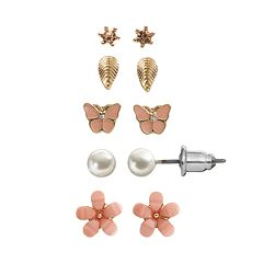 LC Lauren Conrad Flower, Leaf & Butterfly Stud Earring Set