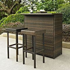 Palm Harbor 3 pc Outdoor Wicker Bar Set