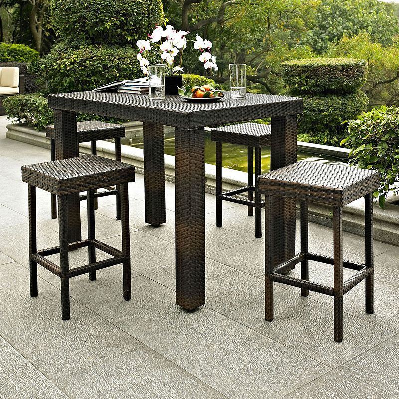 Palm Harbor 5-Piece Outdoor Wicker High Dining Set, Brown
