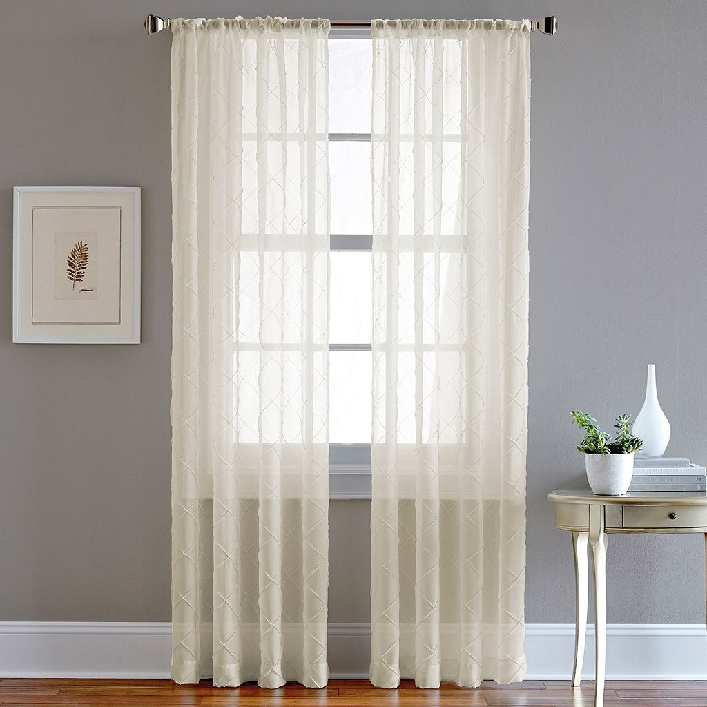 CHF Pintuck Sheer Voile Window Curtain - 51'' x 95''