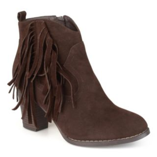Journee Collection Spin Women's Faux Suede Fringed Booties