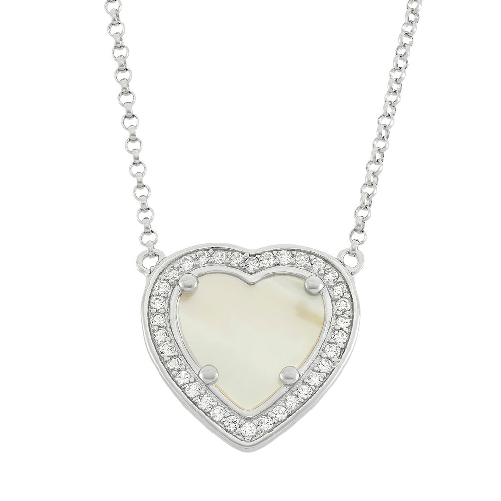 Mother-of-Pearl & Lab-Created White Sapphire Sterling Silver Heart Halo Necklace