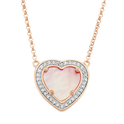 Pink Mother-of-Pearl & Lab-Created White Sapphire 18k Rose Gold Over Silver Heart Halo Necklace