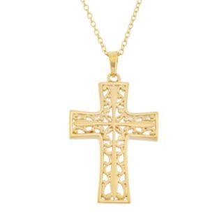 18k Gold Over Silver Filigree Cross Pendant Necklace