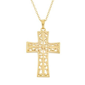 18k Gold Over Silver Filigree Cross Pendant Necklace