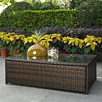 Palm Harbor Outdoor Wicker Glass Top Table