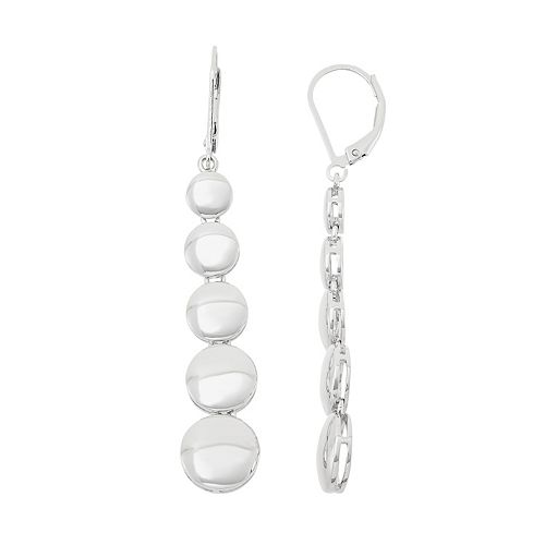 Sterling Silver Graduated Circle Drop Earrings