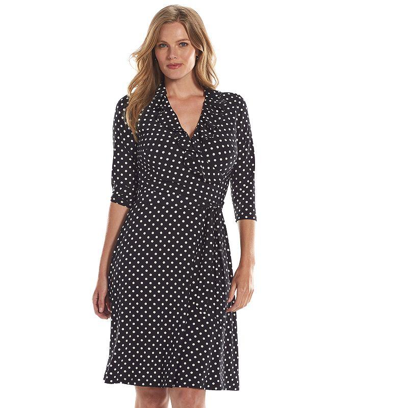 Plus Size Chaps Polka-Dot Surplice Faux-Wrap Dress