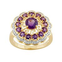 18k Gold Over Silver Flower & Greek Key Ring