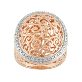 18k Rose Gold Over Silver Halo Filigree Ring