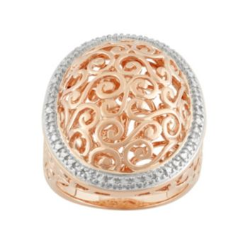18k Rose Gold Over Silver Halo Filigree Ring