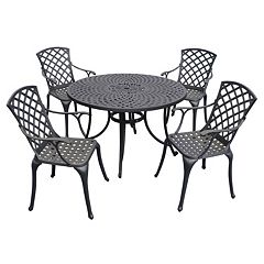 Sedona Cast Aluminum Outdoor Dining Table & Chair 5 pc Set