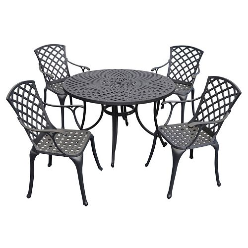 Sedona Cast Aluminum Outdoor Dining Table & Chair 5-piece Set