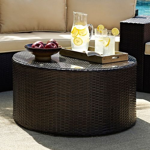 Catalina Outdoor Wicker Round Glass Top Coffee Table
