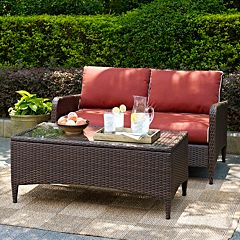 Crosley Outdoor Kiawah Outdoor Wicker Loveseat & Coffee Table 2 pc Set