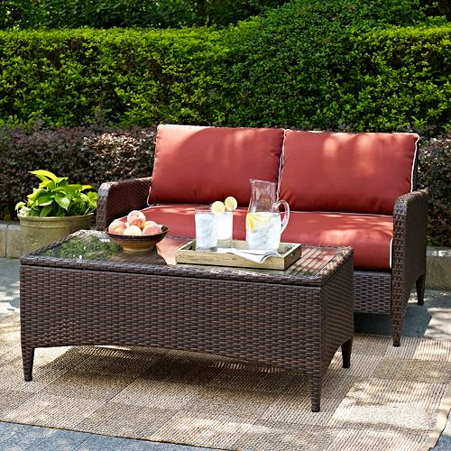 Crosley Outdoor Kiawah Outdoor Wicker Loveseat & Coffee Table 2-piece Set