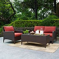 Crosley Outdoor Kiawah 3 pc Outdoor Wicker Seating Set