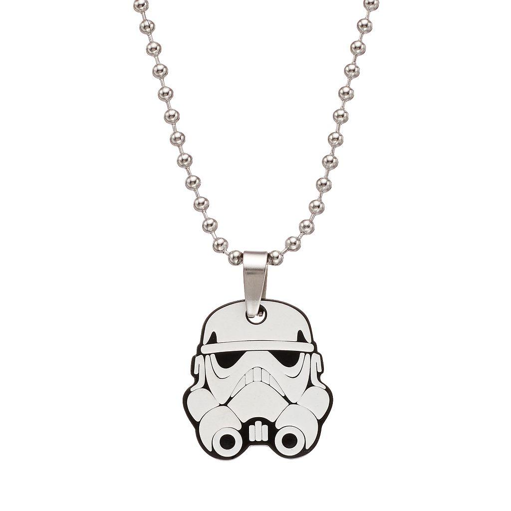 Star Wars Stainless Steel Stormtrooper Glow-in-the-Dark Pendant Necklace