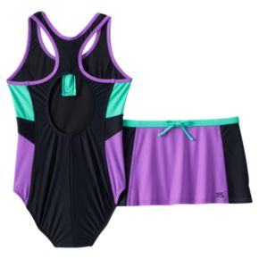 Girls 7-16 ZeroXposur One-Piece Swimsuit & Skirt Set