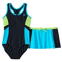 Girls 7-16 ZeroXposur One-Piece Swimsuit & Skirt Set