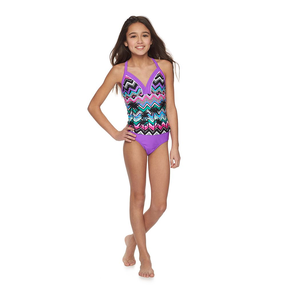 Girls 7-16 ZeroXposur Palm Tree Halterkini Swimsuit & Shorts Set