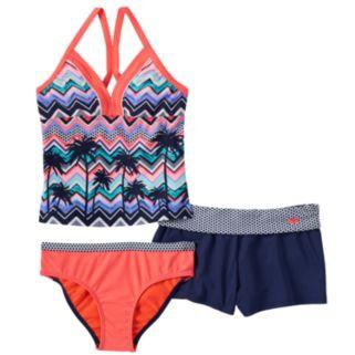 Girls 7-16 ZeroXposur Palm Tree Halterkini Swimsuit & Shorts Set