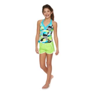 Girls 7-16 ZeroXposur Striped Floral Halterkini Swimsuit & Shorts Set