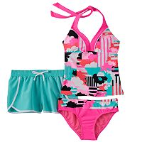 Girls 7-16 ZeroXposur Striped Floral Halterkini Swimsuit & Shorts Set