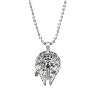 Star Wars Stainless Steel Millenium Falcon Pendant Necklace