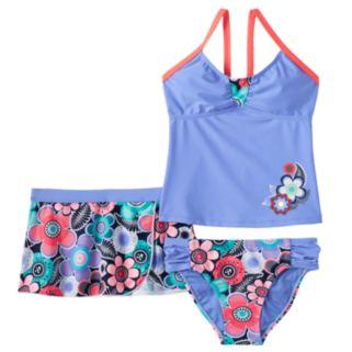 Girls 7-16 ZeroXposur Floral Tankini Swimsuit & Shorts Set