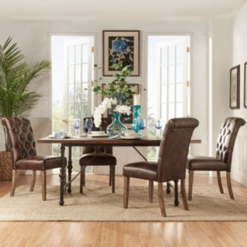 HomeVance Blanche 5-piece Table and Leather Chair Dining Set
