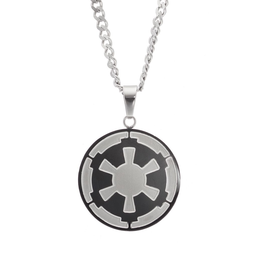 Star Wars Men's Stainless Steel Galactic Empire Symbol Pendant Necklace