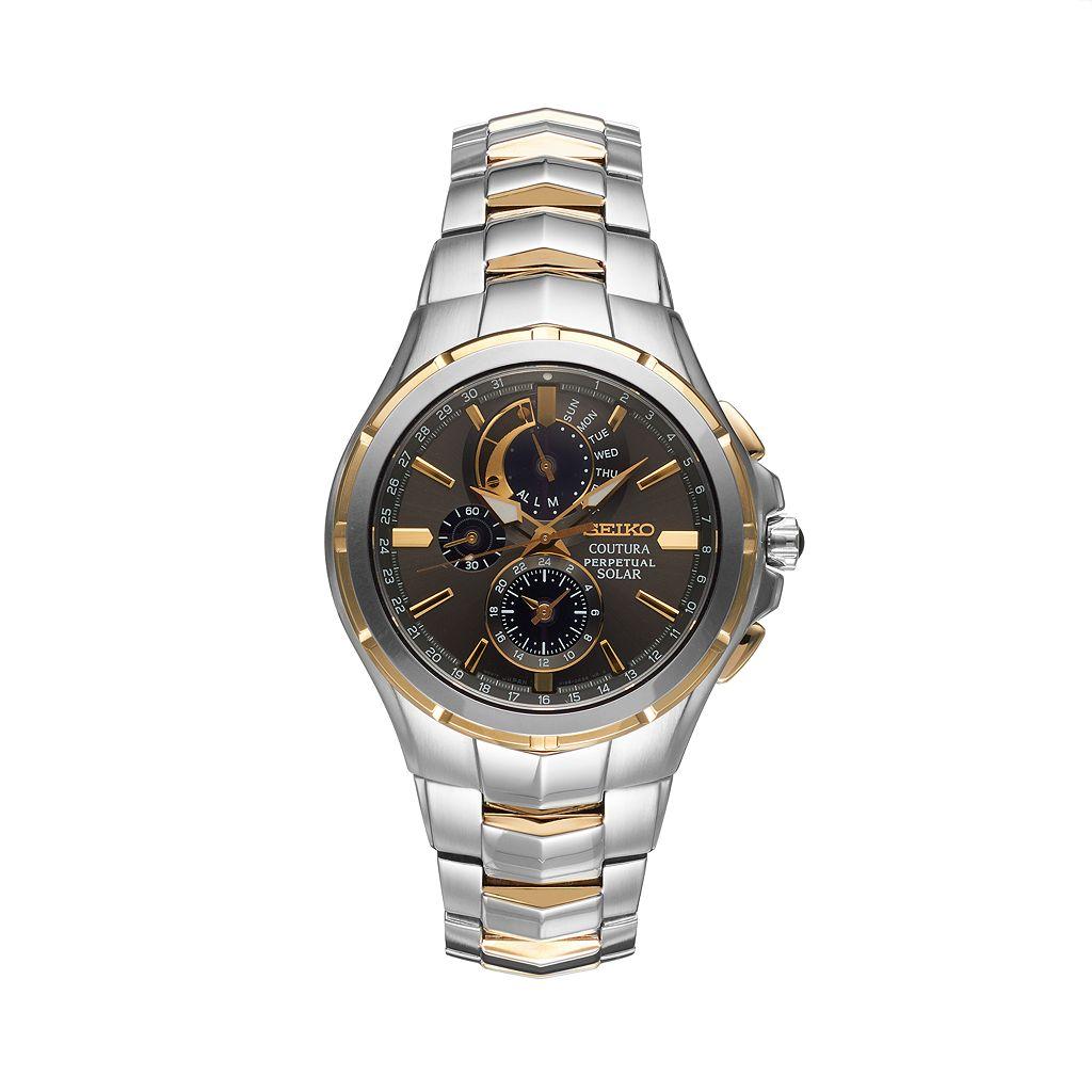 Seiko Men's Coutura Two Tone Stainless Steel Solar Chronograph Watch - SSC376