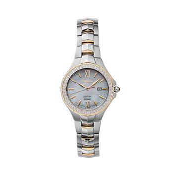 Seiko Women's Coutura Diamond Two Tone Stainless Steel Solar Watch - SUT240