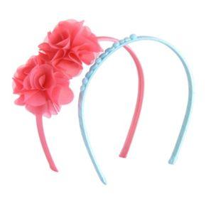 Girls Carter's 2-pk. Beaded & Flower Plastic Headbands