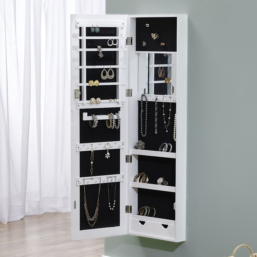 InnerSpace Deluxe Mirror Wall Jewelry Armoire