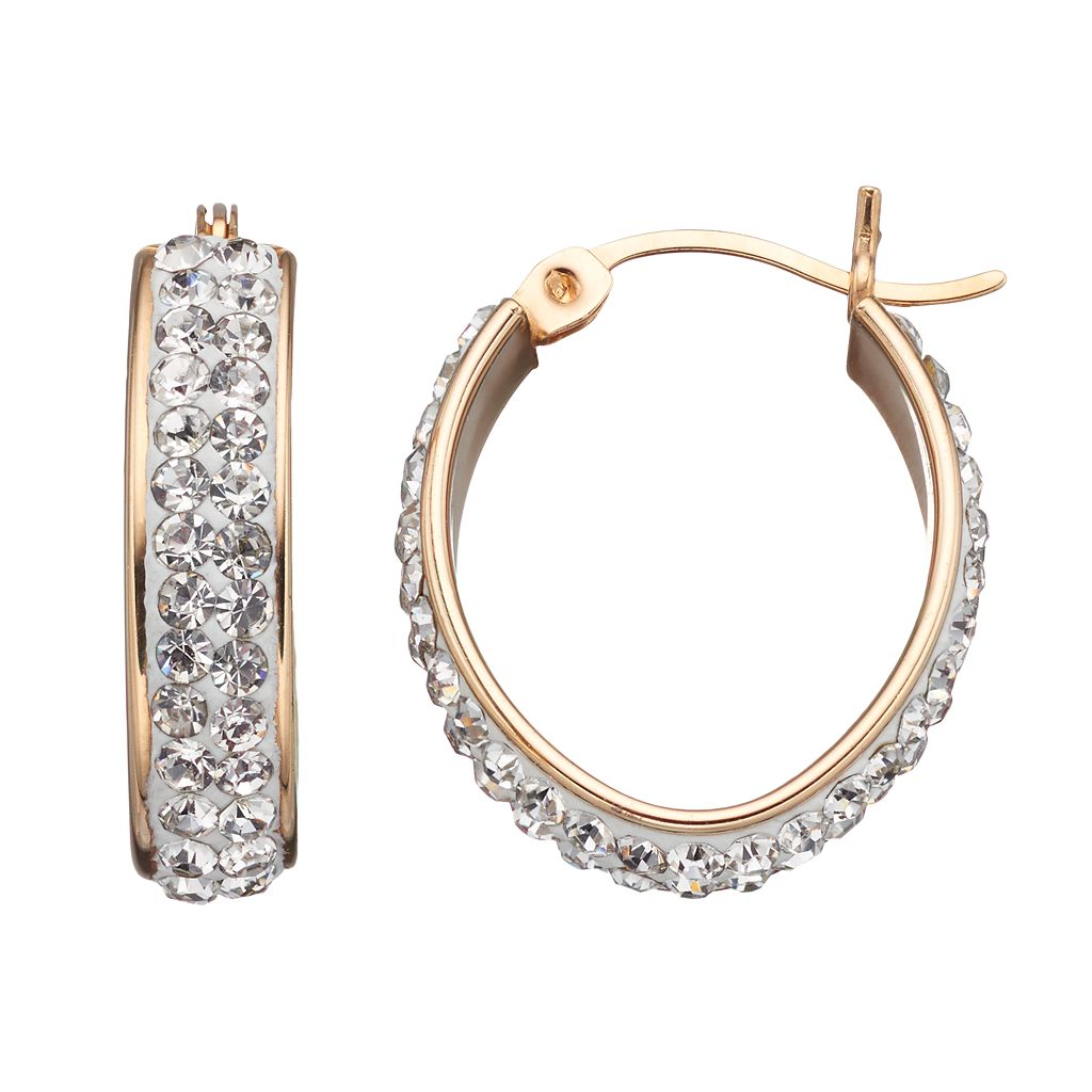 Crystal 14k Gold Over Silver Oval Hoop Earrings