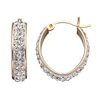 Crystal 14k Gold Over Silver Oval Hoop Earrings