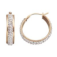 Crystal 14k Gold Over Silver Hoop Earrings