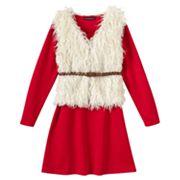 Girls 7-16 My Michelle Knit Dress & Faux-Fur Vest