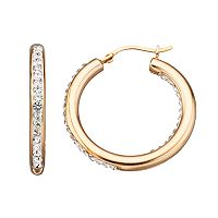 Crystal 14k Gold Over Silver Inside-Out Hoop Earrings