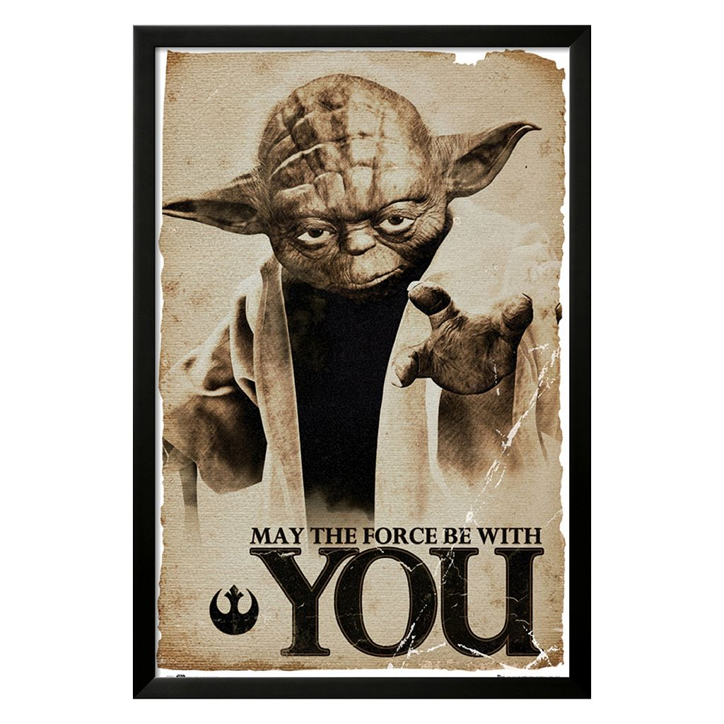 Art.com Star Wars Yoda ''May The Force'' Black Framed Wall Art
