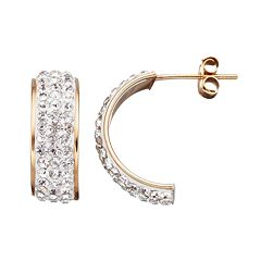 Crystal 14k Gold Over Silver Semi-Hoop Earrings