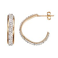 Crystal 14k Gold Over Silver Free-Form Hoop Earrings
