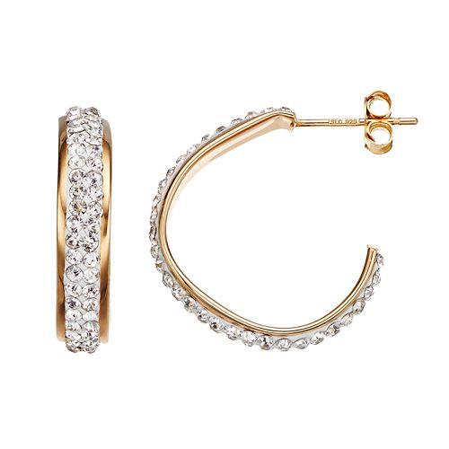 Crystal 14k Gold Over Silver Free-Form Hoop Earrings