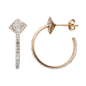 Crystal 14k Gold Over Silver Hoop Earrings