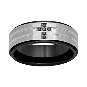 Black Diamond Accent Stainless Steel & Black Ion-Plated Stainless Steel Cross Grooved Band - Men