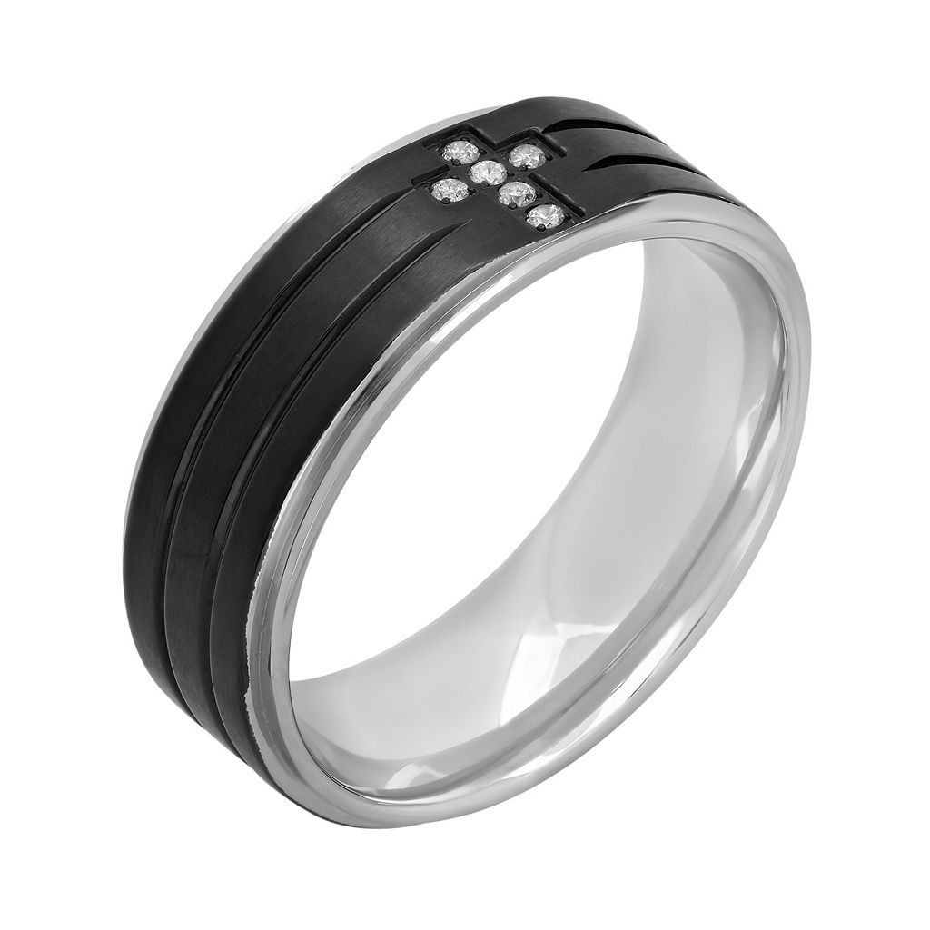 Diamond Accent Stainless Steel & Black Ion-Plated Stainless Steel Cross Grooved Band - Men